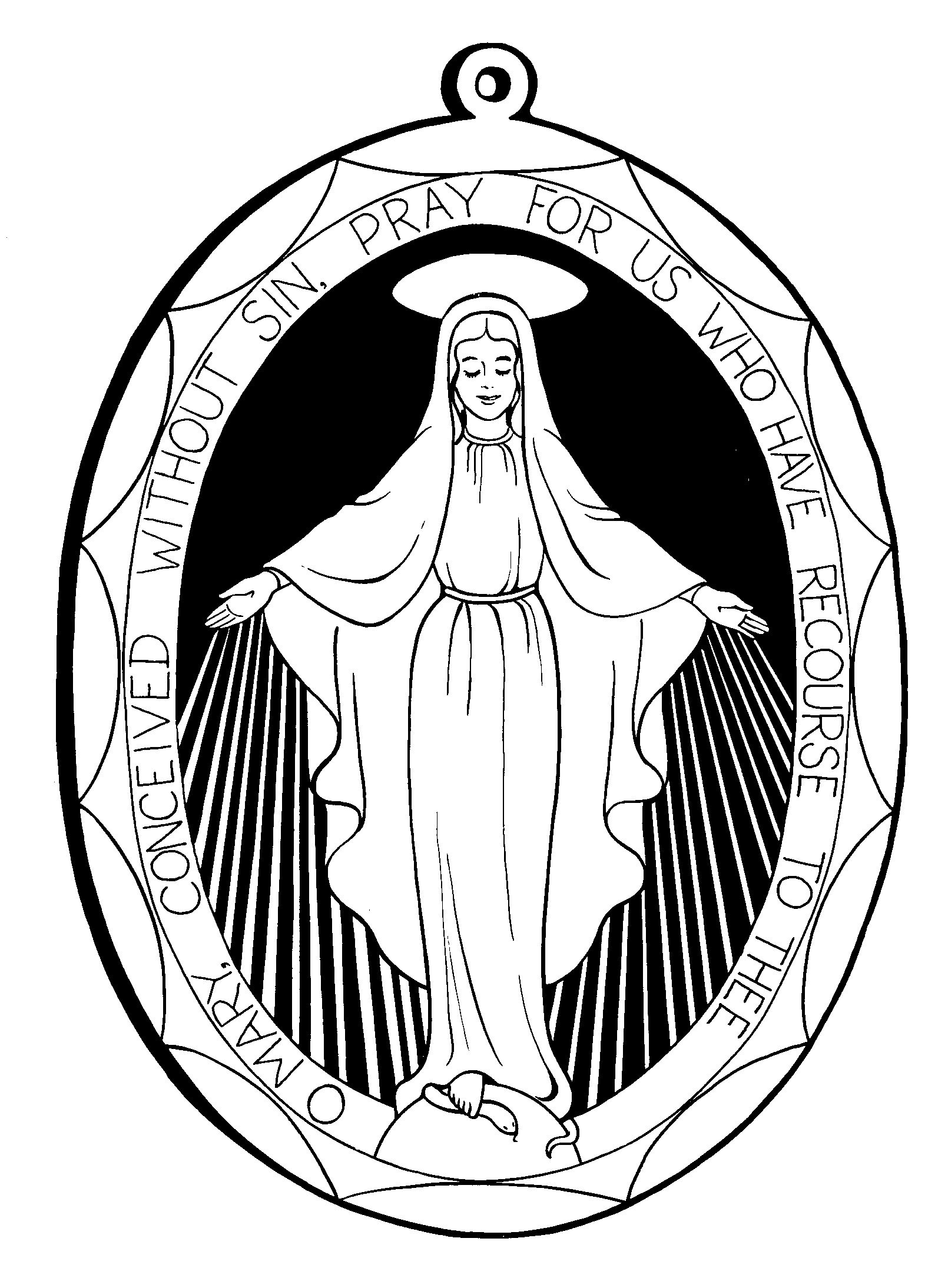 Mother mary coloring pages for Blessed mother coloring page