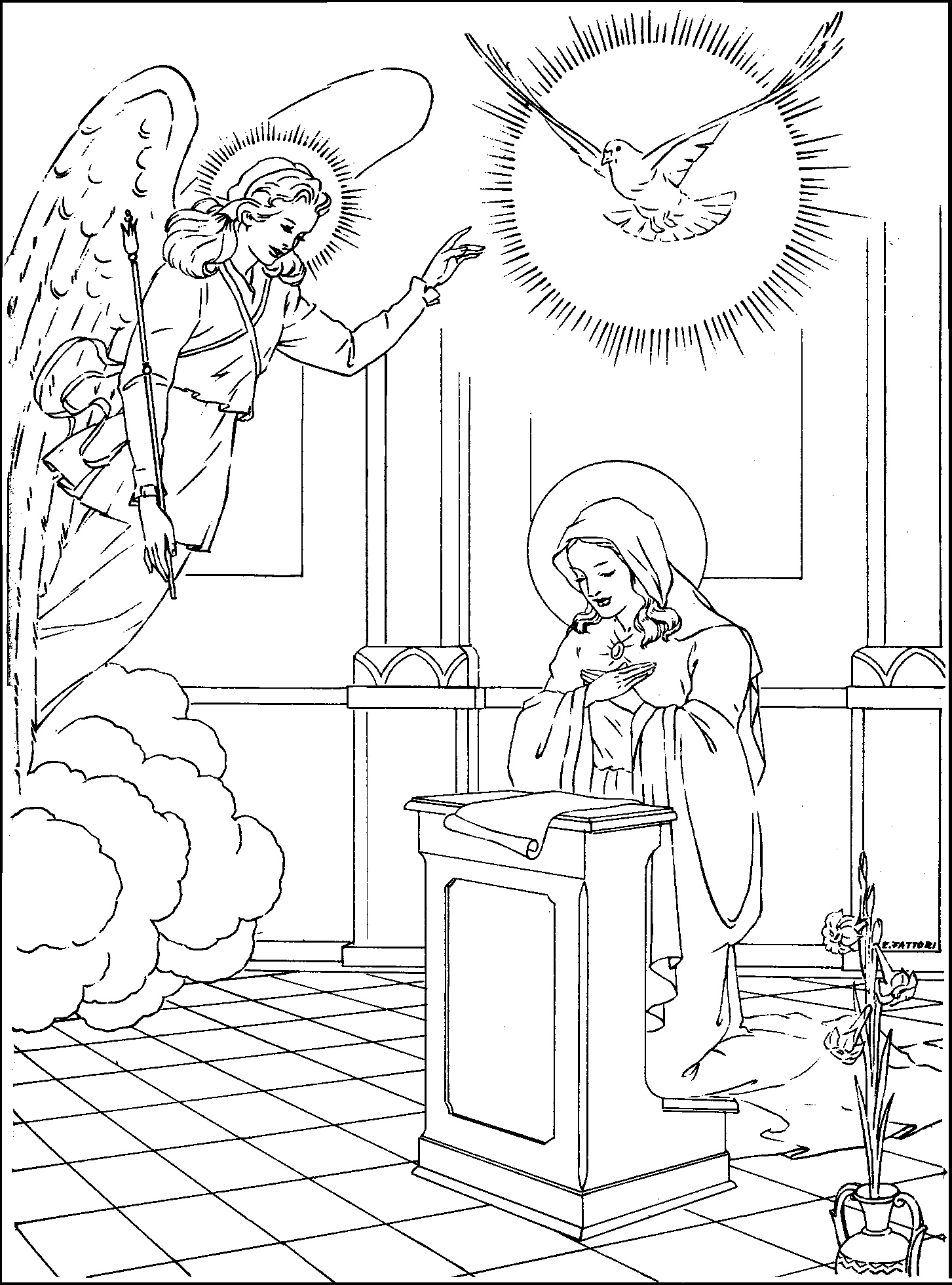 Printable coloring pages virgin mary -  Fourth Annunciation Coloring Page